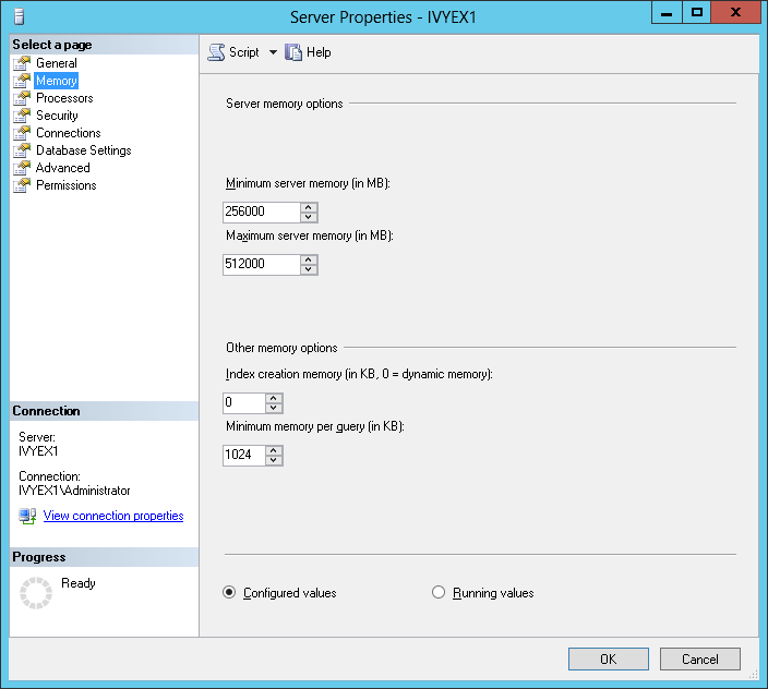 Figure 6 Server Properties Also ensure that Processor