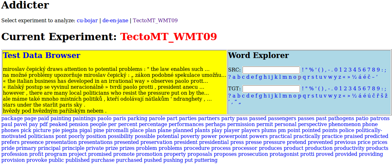 Figure 3: Experiment Main Page 6 Related Work Meteor [2] is an automatic machine translation evaluation system. It scores hypotheses by aligning them to one or more reference translations.