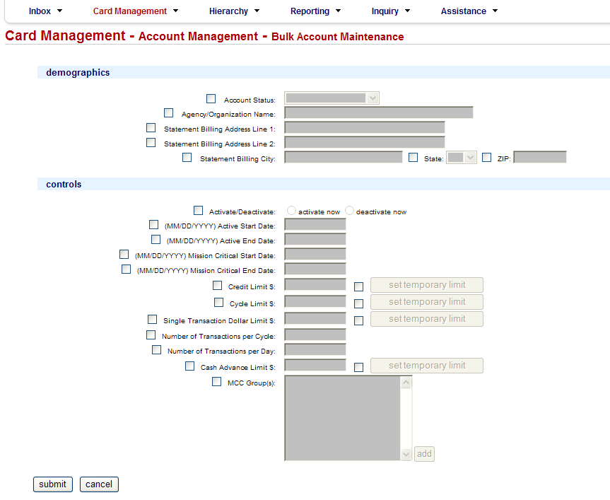 Using Bulk Maintenance Online Select the hierarchy level(s) of the accounts to be maintained by checking the box next to the hierarchy name(s).
