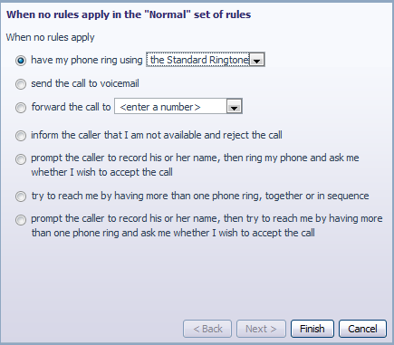 "This Set of Rules does not contain any rules for specific callers so when it is active, ""all calls will ring your phone using the Standard Ringtone""."
