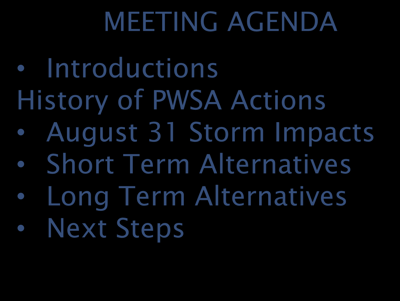 MARYLAND AVENUE BACKUPS COMMUNITY OUTREACH MEETING AGENDA Introductions History of PWSA Actions August 31 Storm Impacts Short Term Alternatives