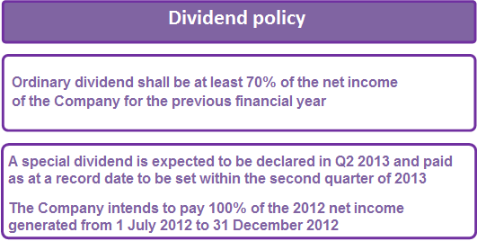 Dividend Policy On October 17, 2012, the Kcell General Shareholders Meeting approved the dividend policy, which is part of the Corporate Governance Code and will apply to all dividends declared.