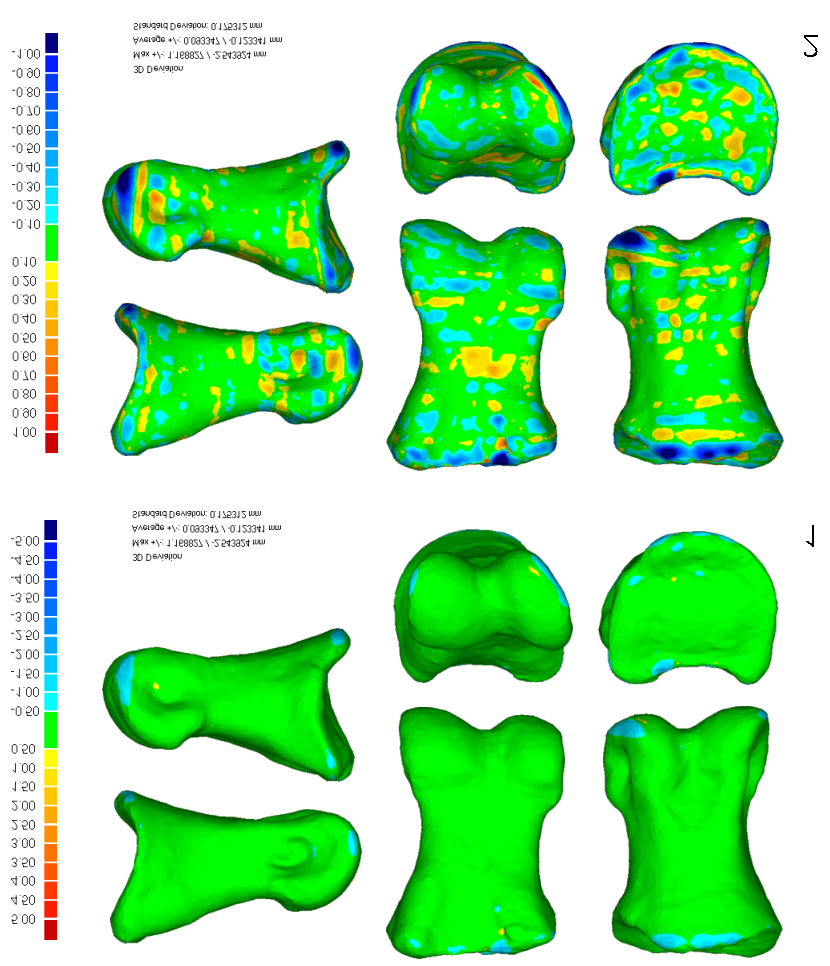 MALLISON, HOHLOCH, & PFRETZSCHNER: NEW DIGITIZING TECHNIQUES FIGURE 10. 3D deviation maps from Geomagic of the left pedal phalanx II-1 of GPIT 1 Plateosaurus engelhardti (length 73 mm).