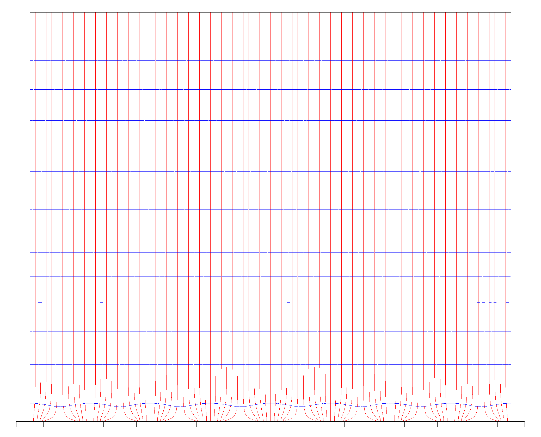 3 Results Figure 3.1 Electric field lines (red, vertical) and electric potential (blue, horizontal) for a doped CdTe sensor with the standard setup parameters.