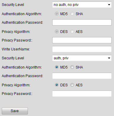 Figure 7.21 SNMP Settings (1) 5. Select the security level to no auth, no priv, auth, no priv, no auth, priv or auth, priv. Figure 7.22 SNMP Settings (2) 6.
