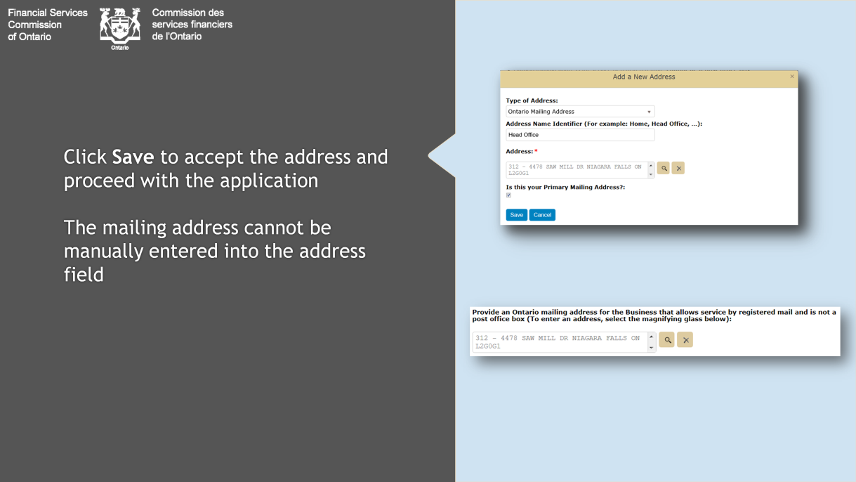 The address field will be automatically populated with the information you provided.