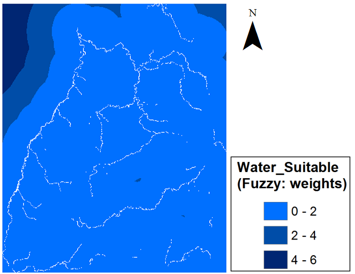 1. Output vector model 1. 2. Output raster model 2. 3. Output raster model 3. Figure 19: Results from Water models.
