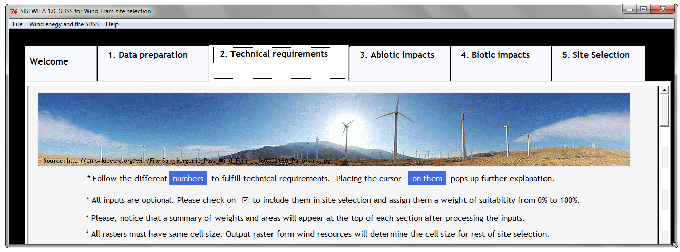 2. Technical requirements tab: In this tab wind resources, slopes, roads and power lines are processed.