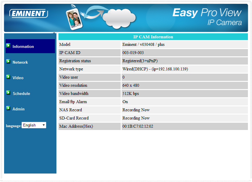 55 ENGLISH 5.2 Information The first page of the web configuration of the EM6250HD is the information page.