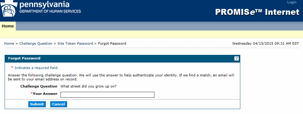 12. The user will be returned to the initial Welcome to PROMISe page, and will need to logon 2.5 Forgotten Passwords In the event that you forget your password, follow the steps below.