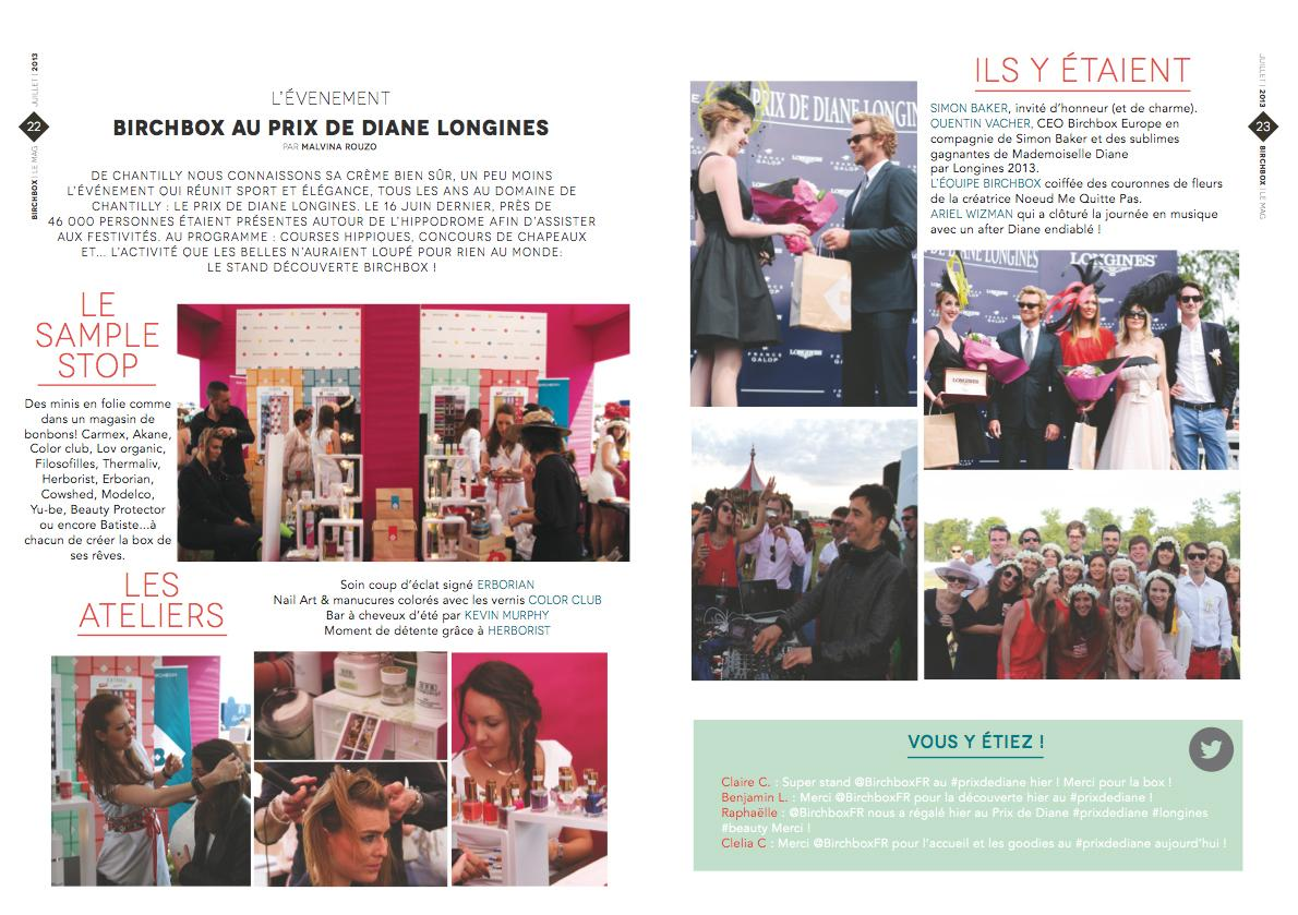 "Le Prix de Diane : On June 16th, during ""Le Prix de Diane"" a horse racing, more than 2.000 Birchmag were distributed to people enjoying the race. There were also beaty workshop and photo booth."