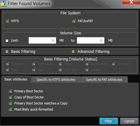 3. To select the types of file systems to display, in the File Systems area, clear the check box beside the types that you do not want to display.