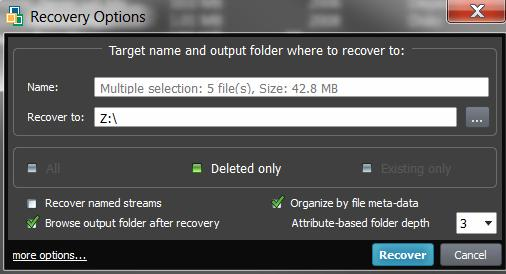and you will see: 6. To recover files detected by Signatures, select the particular file or group of files, or even all signature files and click Recover button.