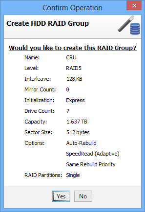 4 Customizing a RAID Setup a. After following the steps in Section 3.2.3, select HDD Group and click OK. b. Enter the name for the new RAID group in the Name field.