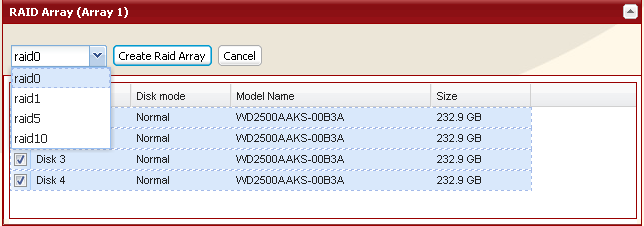 Using RAID 5 mode (4 hard drives) 1 Change system to normal mode (previous page). 2 Click [System] - [Storage] - [RAID Array] in the Web Admin. 3 Click the array you want to configure.