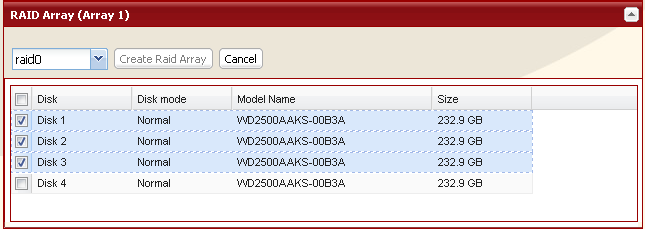 Using RAID 5 mode (3 hard drives) 1 Change system to normal mode (page 11). 2 Click [System] - [Storage] - [RAID Array] in the Web Admin. 3 Click the array you want to configure.