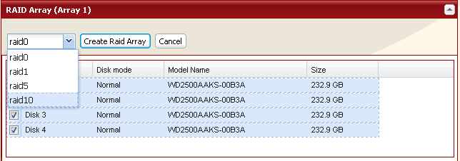 Using RAID 10 mode 1 Change system to normal mode (page 11). 2 Click [System] - [Storage] - [RAID Array] in the Web Admin. 3 Click the array you want to configure.