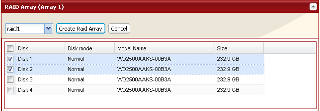 Using RAID 1 mode 1 Change system to normal mode (page 11). 2 Click [System] - [Storage] - [RAID Array] in the Web Admin. 3 Click the array you want to set.