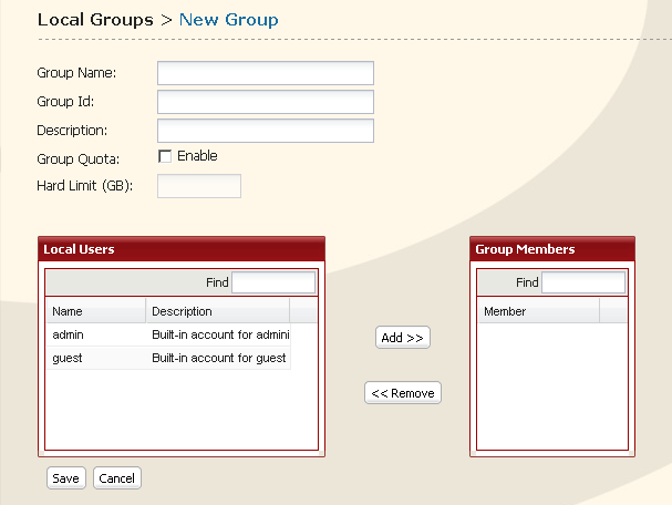 Adding Groups 1 1 Click [Users/Groups] - [Local Groups] in the Web Admin. 2 Click [Create Group]. 2 1 Enter Group Name and Description. 2 Select users who join a group, click [Add]. 3 Click [Save].