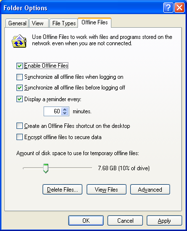 4 Open Windows folder. Select [Folder Options] from the [Tool] menu. Note: Select [Control Panel] - [Folder Options] in Windows 2000 Server. 5 1 Click [Offline Files] tab.