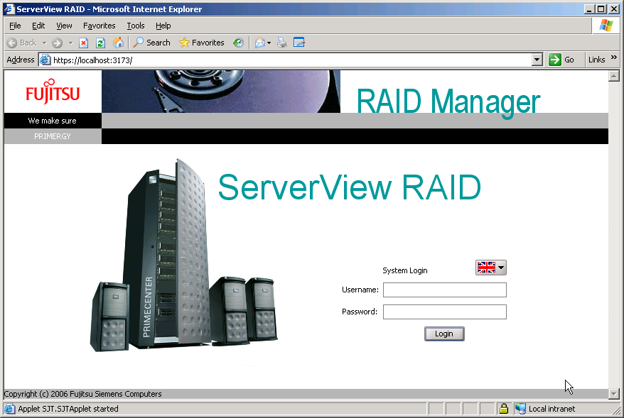 Embedded MegaRAID SATA User's Guide 4 Click [Login]. The main window of ServerView RAID Manager appears. If you type a wrong password for logging in, you may be unable to type the password again.