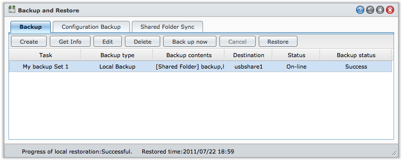 8 When the restoration task is complete, you will see the notification message at the status bar of Backup and Restore.