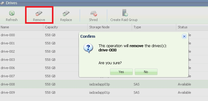 "You remove unused drives (in status ""Available"") from within the VPSA."