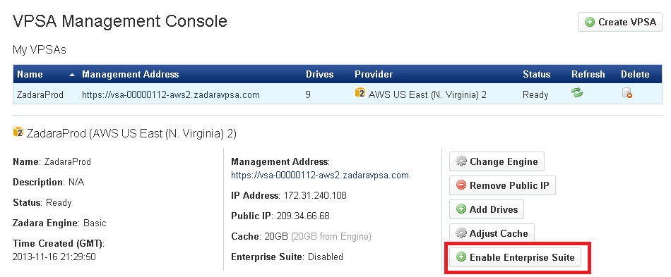 4.5 Managing Enterprise Suite The VPSA Enterprise Suite extends your VPSA functionality to provide enterprise-level security and data management capabilities, including: Data-at-rest Volume