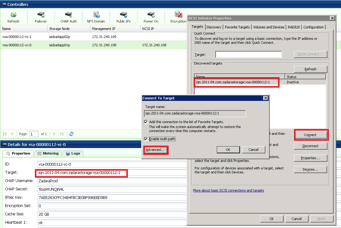 On the Targets tab, type the iscsi IP address of the VPSA (which is displayed in the VPSA GUI Controllers page) in the Quick Connect target text box, and then click the Quick Connect... button.