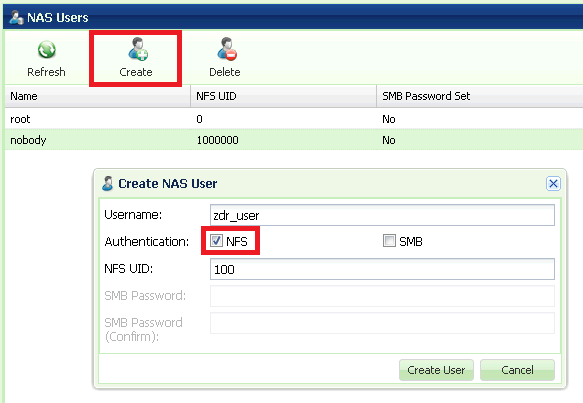 a. Set the user name. b. Check NFS authentication. c. Select an NFS UID (in the range 1-999,999). d.