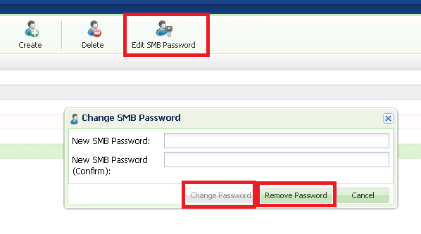 9.3.3 Editing SMB Users Password It is possible to edit the password of an SMB User at any time.