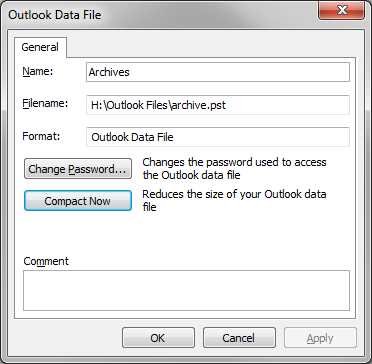 3. Click on the Advanced button.the archives properties dialog box will be displayed. The Outlook Data File dialog box will be displayed 4. Click on the Compact Now button.