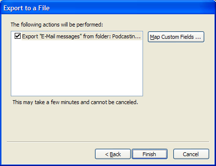3. Select Comma Separated Values (Windows) and click Next. 4. Select the folder you want to export and click Next. 5.