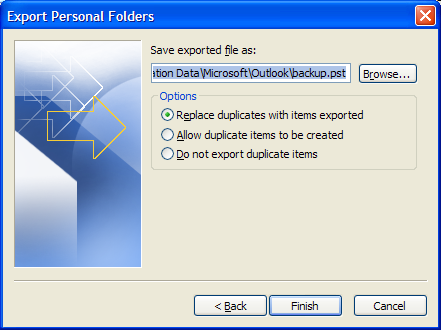 2. Select Export to a file and click Next. 3. Select Personal folder file (.pst) and click Next. 4. Select the appropriate folder and click Next. 5. Browse to the appropriate.