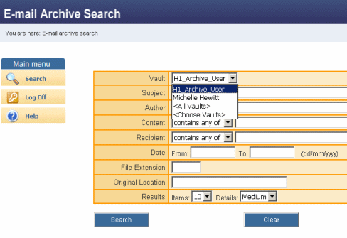 Archive Explorer view of multiple users archives: Web Search view of multiple users archives: 6. Help If you experience any difficulties using Email Archiving, first check the FAQs at http://www.