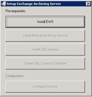 4. Install the Pre-Requisites and Configure the server, as follows: Click Install EWS to install the EWS.