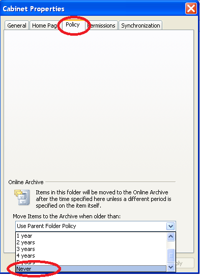 Setting an Archive Policy on Individual Messages in a folder If you want to keep specific messages in your mailbox and not have them moved to your online archive you can set a policy on individual