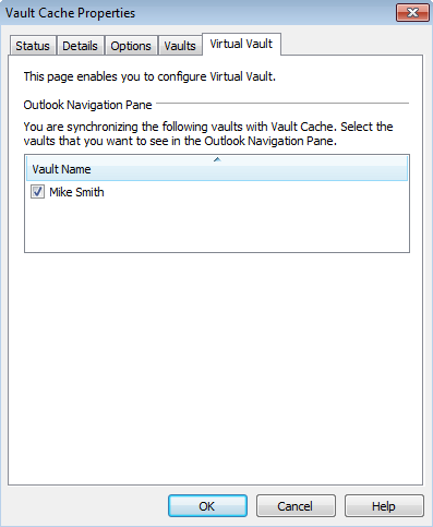 Setting up Enterprise Vault Showing or hiding your Virtual Vault 15 Showing or hiding your Virtual Vault Your Virtual Vault normally appears automatically in the Outlook Navigation Pane after your