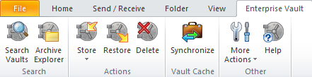 Chapter 3 Enterprise Vault options and mailbox icons This chapter includes the following topics: Enterprise Vault options on the Outlook ribbon Enterprise Vault page in Outlook Backstage view