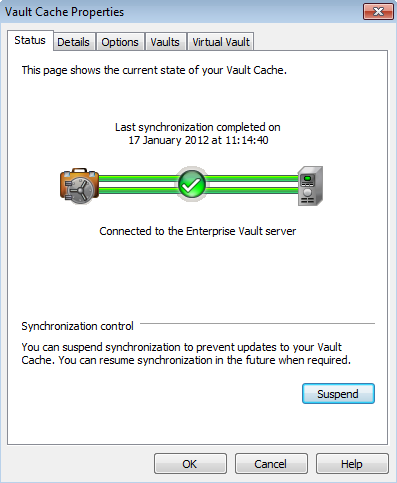 Managing Enterprise Vault archiving Synchronizing your Vault Cache 39 To suspend or resume synchronization 1 Click the File tab and then click Enterprise Vault. 2 Click Configure Vault Cache.