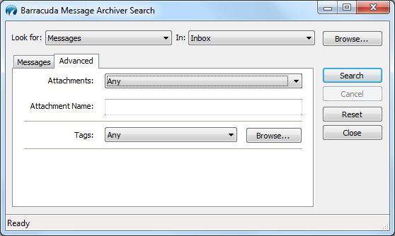 Additional Search Criteria Click the Advanced tab in the Barracuda Message Archiver Search dialog box to specify additional search criteria based on attachments and tags: Note: Any search criteria