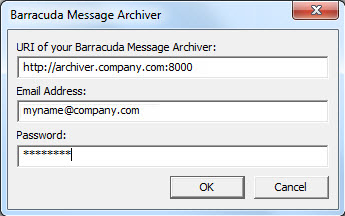 Changing the URI (Location) of the Barracuda Message Archiver If you need to change the location of your Barracuda Message Archiver, first contact your system administrator for the correct URI, and