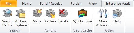 Chapter 3 Enterprise Vault options and mailbox icons This chapter includes the following topics: Enterprise Vault options and toolbar buttons Enterprise Vault Outlook mailbox icons Enterprise Vault