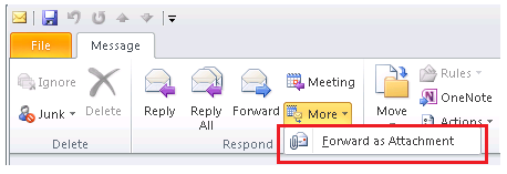 Forward an Email Item in the Archive as an Attachment On the email item that you want to forward as an attachment, first follow the steps in the section above - Double-Click to Open Email Item in New
