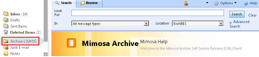 Accessing the Archive When using Microsoft Outlook or Outlook Web Access, click the Archive LSUHSC folder to access items in the email archive. If prompted, enter your login credentials.