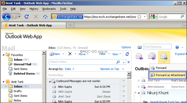 Forward as Attachment: You can forward any emails as an attachment that was not possible in previous version of OWA.