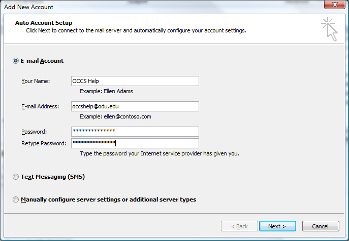3. Outlook will then attempt to open up that shared email account using your logon