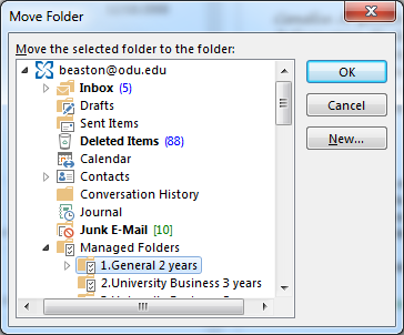 3. The Move Folder selection box will appear.