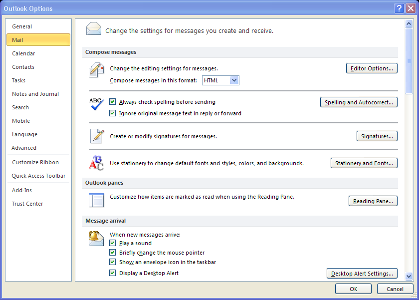 Notification of New E-mail Depending on your configuration, Outlook 2010 may display an envelope icon in the Windows taskbar whenever new e-mail, meeting requests, or other items arrive.