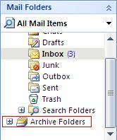 In your Folder List, you will now see an entry called Archive Folders.